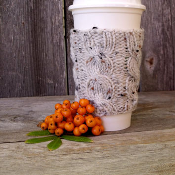 Coffee Cup Cozy, Coffee Mug Cozy, Cable Knit Coffee Cup Sleeve in Oatmeal Tweed, Travel Cup Cozy, Travel Mug Cozy, Cup Koozie, Off white