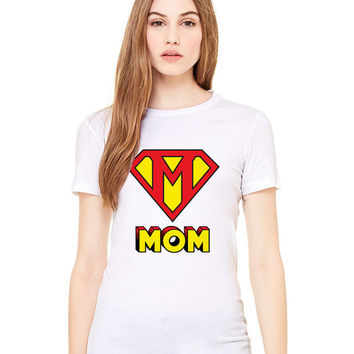 White Tshirt - This Mom Is Super Funny Shirt Tee T-Shirt Mens Ladies Womens Mother's Day