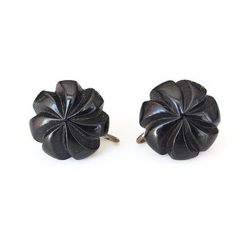 Bakelite Earrings, Deeply Carved, Black Bakelite, Early Plastic, Button Style, Bakelite Jewelry, Vintage Jewelry