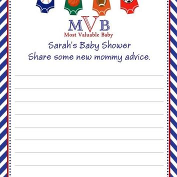 10 All Star Sport Baby Shower Advice Cards