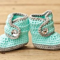 Crochet Baby Booties - Baby Boots - Mint Teal and Grey Baby Shoes Bling - Bling Baby B