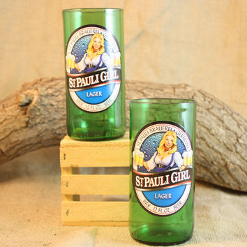 Drinking Glasses from Recycled St. Pauli Girl Beer Bottles, 8 oz, Unique Barware, Unique Gift, ONE glass