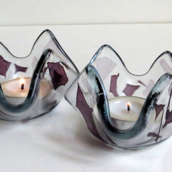 Fused Glass Candle Holders Clear Glass wit Pieces of Purple and Lilac Glass for Color, Statteam
