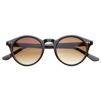 Vintage Inspired Small Round Circle Key Hole Retro P3 Sunglasses with Rivets (Tortoise)