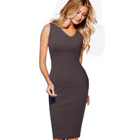 Nice-forever Vintage Summer Sleeveless Sexy Asymmetrical V-Neck Casual Bodycon Work Office Pencil business Women dress 264