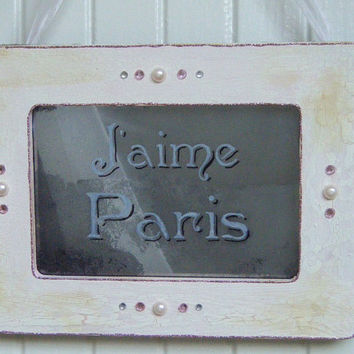 J AIME PARIS Pink Sign Antiqued Mirror Shabby Chic I Love Paris French Country Cottage Vintage Style