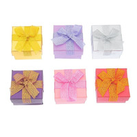 6PCs Mixed Ribbon Present Gift Boxes For Jewelry Ring Earrings (Size: 5cm by 5cm, Color: Multicolor) = 1705618564