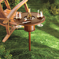 Outdoor Wine Table and Wine Glass Holder with Bottle Cooler Stake