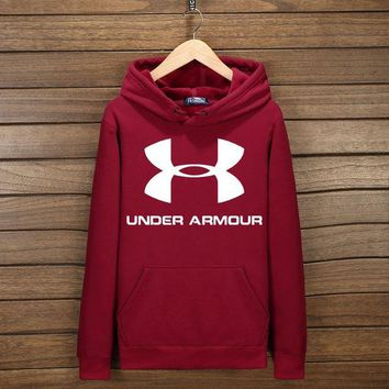 VXL8HQ Under Armour Fashion Print Cotton Long Sleeve Sweater Pullover Hoodie Sweatshirt Wine red G-YSSA-Z
