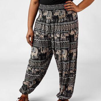 Lenana Black Plus Size Harem Pants