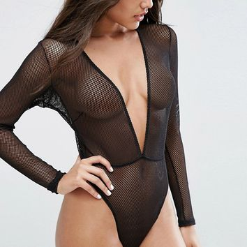 ASOS Bambi Fishnet Long Sleeve High Leg Body at asos.com