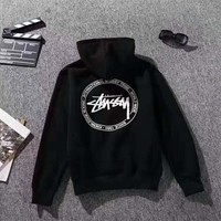 Stussy Print Hooded Girl 's Hoodies Sweatshirt Tops H-CN-CFPFGYS