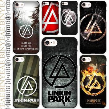 linkin park music bank logo Black Scrub Case Cover Shell for iPhone Apple 4 4s 5 5s SE 5c 6 6s 7 Plus
