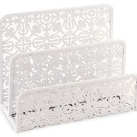 White Decorative Metal Two Tier Letter Holder 6.75 x 5.25 x 3