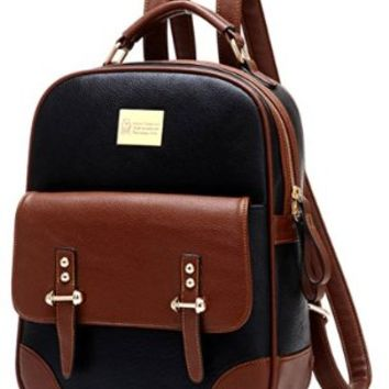 Tinksky® Retro Student Leather Schoolbag Shoulder Bag Hiking Daypack Laptop Backpack