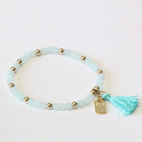 Bead And Tassel Bracelet - Tiffany Blue