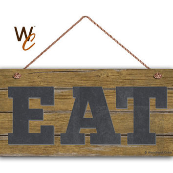 "EAT Sign, Distressed Wood Style, Kitchen Sign, Farmhouse Decor, Cafe Sign, Rustic Gold Dining Sign, 5"" x 10"" Sign, Made To Order"
