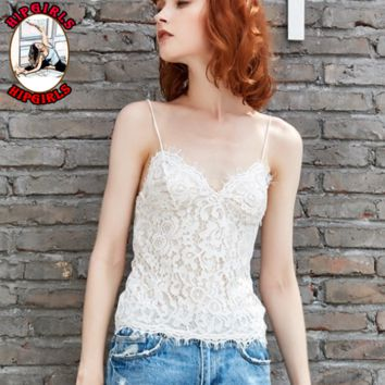New fashion summer lace straps sexy top women White