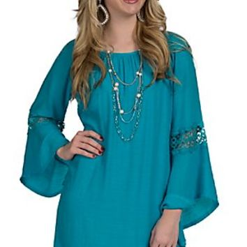Wrangler Women's Turquoise Gauze with Lace Inset Long Sleeve Dress