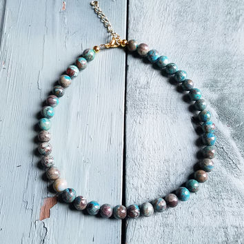 Ocean Agate Choker Necklace 233G