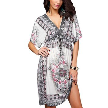 Women Summer Dress Plus size 2XL Bohemian white Vintage Floral Print party Dress Sexy hippie boho clothing Milk Silk Sundresses