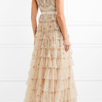 Needle & Thread - Pearlescent tiered embellished tulle gown