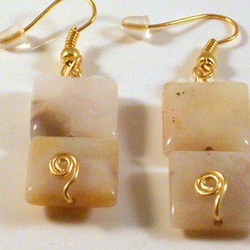 ROMANCE - Earrings - Made With 2 Peruvian Opal Cream & Black Square  Beads. Wire Wrapped with Gold Craft Wire!