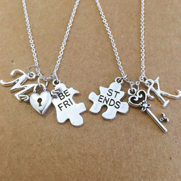 Two Best Friends Personalized Key and Heart Charm Necklace