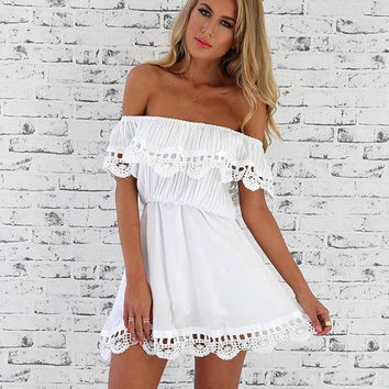 Vivian white off the shoulder strapless dress