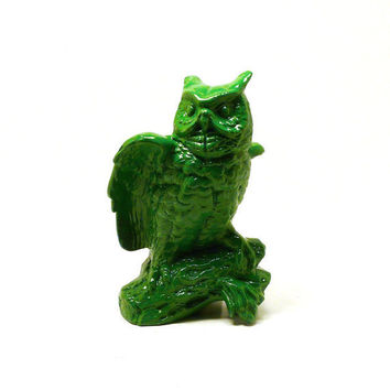 upcycled owl, man cave, den, vintage ceramics, bright green, owls, bird figurines, handsome, for him, woodland decor