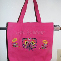 Pink Embroidered Sugar Skull Day Of The Dead English Bulldog Tote