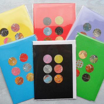 Arty Greetings Card Colourful Colorful Painted Funky Unusual Elegant Simple Minimal Minimalist One Off Art Cards Circles Wholesale