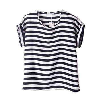 Women Chiffon T-shirts Tops Loose Short Sleeve Ladies Striped Heart Lip Tee Shirt Femme HOT 15 Colors