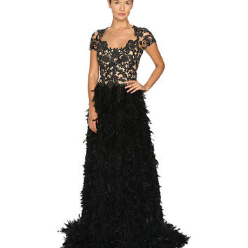 Marchesa Threadwork and Jet Crystal Embroidered A-Line Gown with Fringed Feather Skirt