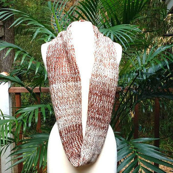 Chocolate Brown Ombre Gold Metallic Crochet Infinity Scarf, soft brown tone crochet neck warmer scarf, brown crochet infinity scarf