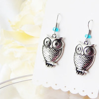 Owl Earrings - Antique Silver - Blue Beads - Dangle Charms - Large Vintage Retro Owls