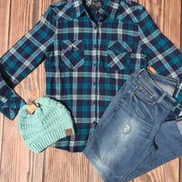 Stacy Button Up Plaid Top
