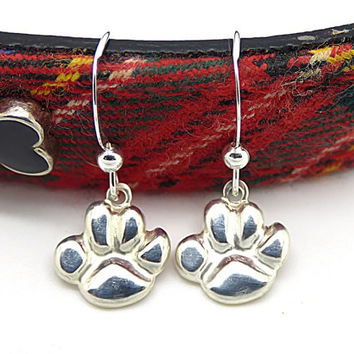 Paw Print Earrings, Sterling Silver Dog Paw Jewelry, Gifts for Dog Lovers, Dog Lover Jewelry
