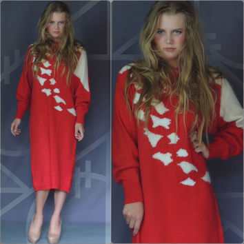 Vintage red sweater dress / 80s glamour midi jumper frock with winter white 'animal' markings / knitted dress