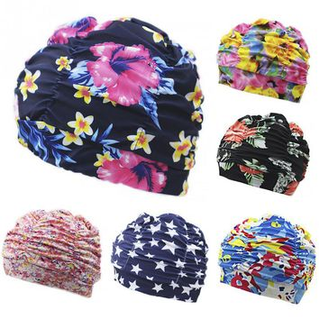 Women Swimming Cap Floral Printed Swim Pool Hat Beach Surfing Long Hair Ears Protection Summer Beach Swim Caps Free size