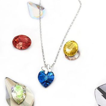 Rhodium Layered Women Heart Fancy Necklace, with Bermuda Blue Swarovski Crystals, by Folks Jewelry