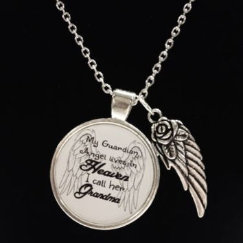 Guardian Angel Grandma Grandmother Heaven Wing Watch Over Quote Memory Necklace