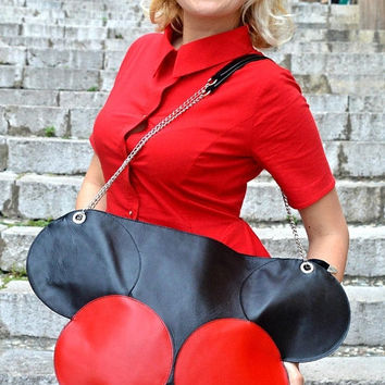 d56a261a3d YELLOW SALE 15% OFF Extravagant Black and Red Leather Tote