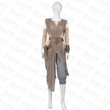 Star Wars: The Force Awakens Rey Cosplay Costume Halloween Uniform Cape+Top+Pants+Belt+armguard +Bag+ Ties