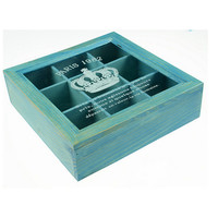 Zakka Retro Vintage 9 Cabinets Jewelry Storage Wooden Box Clear Cover   Blue Crown