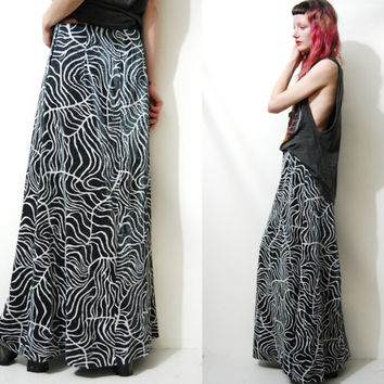 70s Vintage METALLIC Skirt Lurex Glitter Sparkle Abstract Silver / Black Long Maxi Boho Bohemian Hippie vtg 1970s M