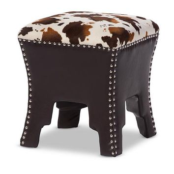 Baxton Studio Sally Modern and Contemporary Cow-print Patterned Fabric Brown Faux Leather Upholstered Accent Stool with Nail heads  Set of 1