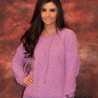 Popcorn Hoodie Sweater with Drawstring in Lavender