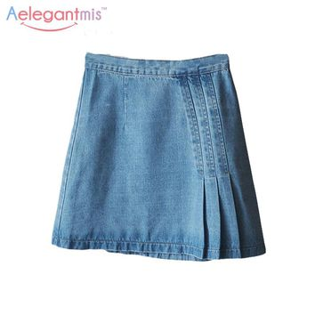 Aelegantmis Fashion Ruffles A-Line Short Blue Denim Skirt Women Summer Solid Pleated Elastic High Waist Jeans Skirts Lady Casual