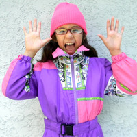 Vintage 90s Ski Suit, 90s Girls One Piece Snowsuit in Purple, Hot Pink, Neon Green, and Orange - SNOW BIRD Brand, Child Size 8, European 128